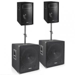 Vonyx 1700W Subwoofer set Super Bass 1700 2 Speakers, 2 Subwoofers