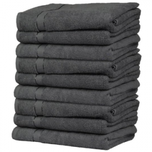Queens Handdoeken - 9 Stuks - Antraciet - 70x140 cm - 600 gr m2